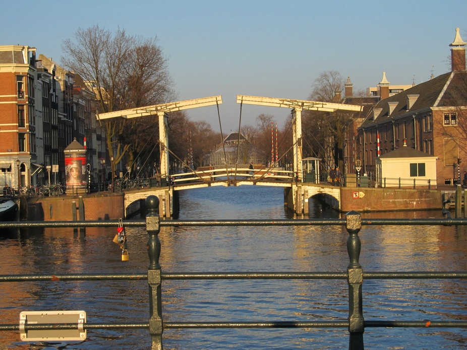 One of the oldest wooden draw bridges in Amsterdam, Netherlands