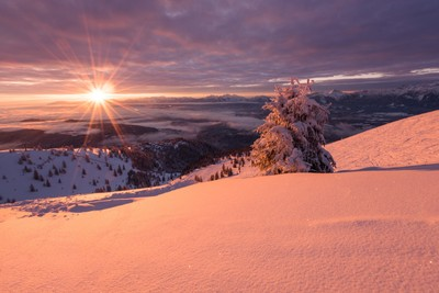 Sunrise in the snowy mountains