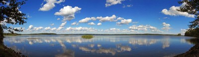 Panorama of one of the Karelian lakes in the Vuoksi system.
