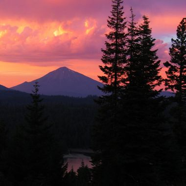 Mt McLaughlin at Sunset after a Thunderstorm