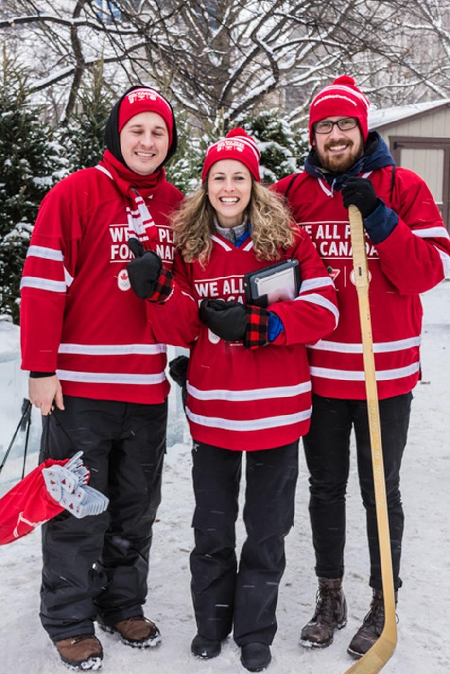 Ambassadors promoting hockey. Canada's sport.