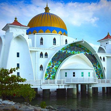 Modern Islamic temple in Malacca, Malaysia!