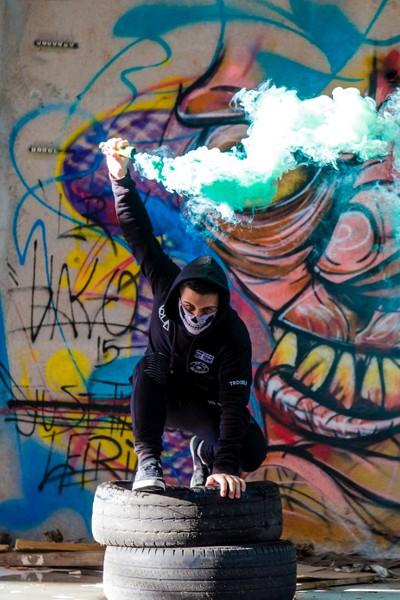 Smoke grenade photo shoot