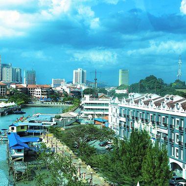 Modern city side of Malacca, Malaysia!