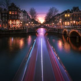In one of the canals of Amsterdam, during a wonderful sunset.