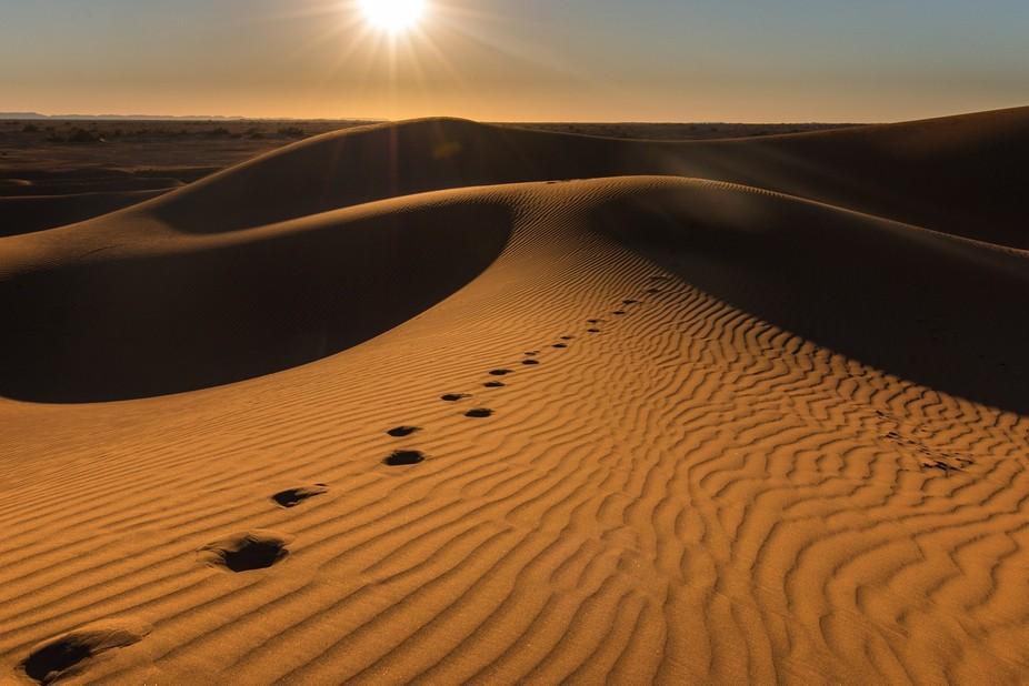 Walking through the Sahara Desert in Morocco