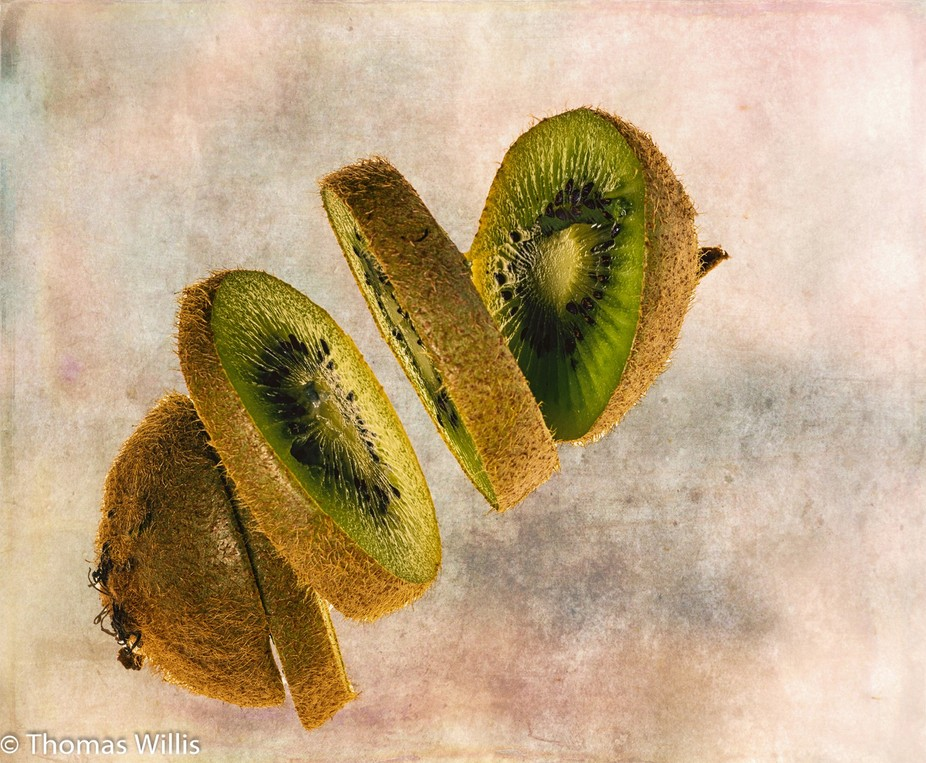 Kiwi suspended in the air.
