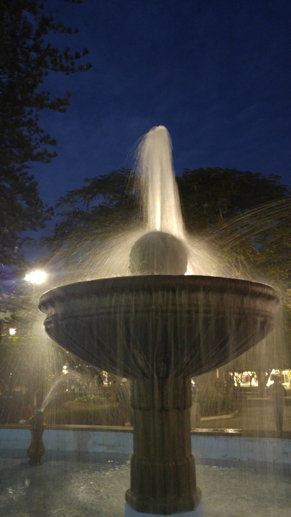 This is a night view of a fountain in Tepic's centertown, in Nayarit State, I took it be...