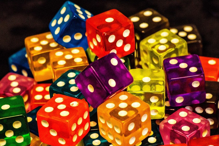 Macro of dice all bright and ready to roll