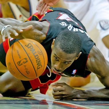 Apr 16, 2012; Newark, NJ, USA; Miami Heat guard Terrel Harris trys to control ball as he falls during the second half against the New Jersey Nets at the Prudential Center. Miami Heat defeat the New Jersey Nets 101-98.