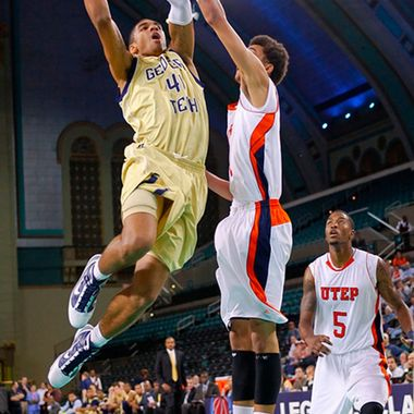 Nov 26, 2010; Atlantic City, NJ, USA; Georgia Tech Yellow Jackets guard Glen Rice Jr. (41) drives to the basket against UTEP Miners center John Bohannon (21) during the Legends Classic at the Boardwalk Hall in Atlantic City.