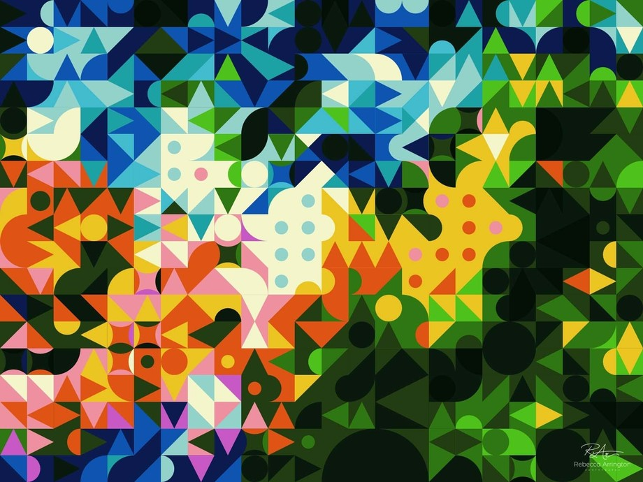 A colorful abstract that calls to mind the 1970s.  :)