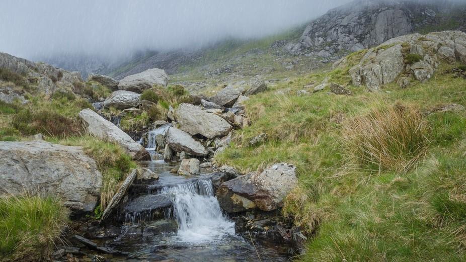 Highland mountain stream on glyder fawr in Snowdonia north wales