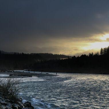 The Vedder River near Chilliwack B C in Steelhead fishing season.