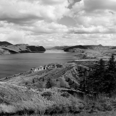 Kamloops Lake from the lookout near Savona. Kamloops is at the very end of the lake.