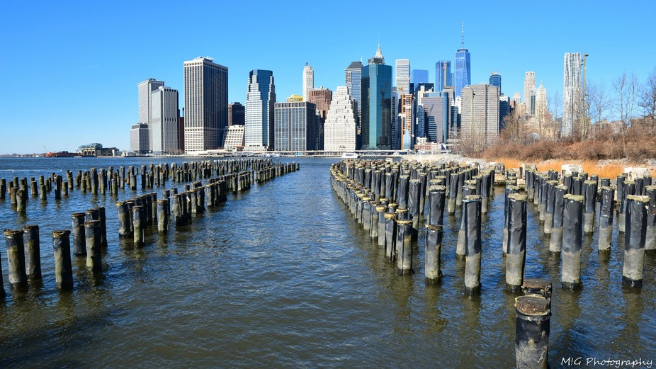 Views of the Financial district, Downtown Manhattan from Brooklyn, New York, USA
