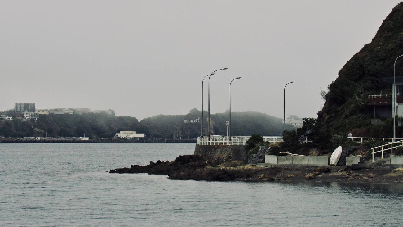 Sea mist and low cloud shroud the Wellington harbour coastline