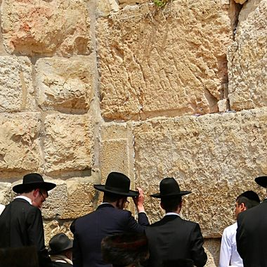 Jewish worshippers at the West (Wailing) Wall in Jerusalem on Easter Sunday, 2017!