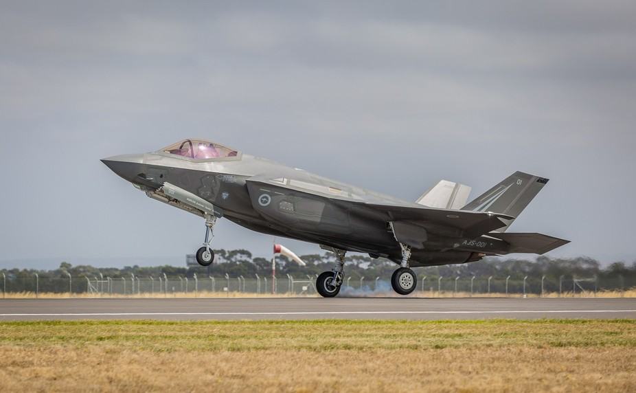 RAAF Lookheed Martin F-35A  A35-001 landing at Avalon.