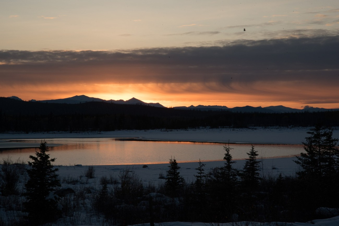 Eagle Lake high up on the plateau reflecting the fall sunset.