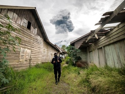 The ghost town in sinabung volcano