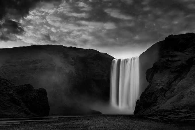 Skógafoss, Iceland by paulmp - The Water In Black And White Photo Contest