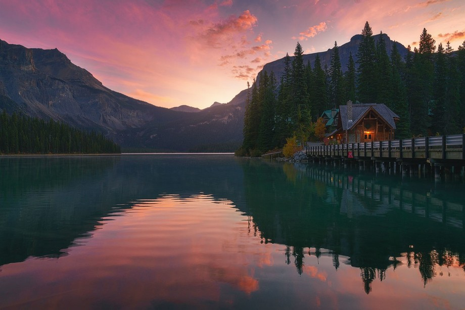 Emerald Lake is located in Yoho National Park, British Columbia, Canada. It is the largest of Yoh...