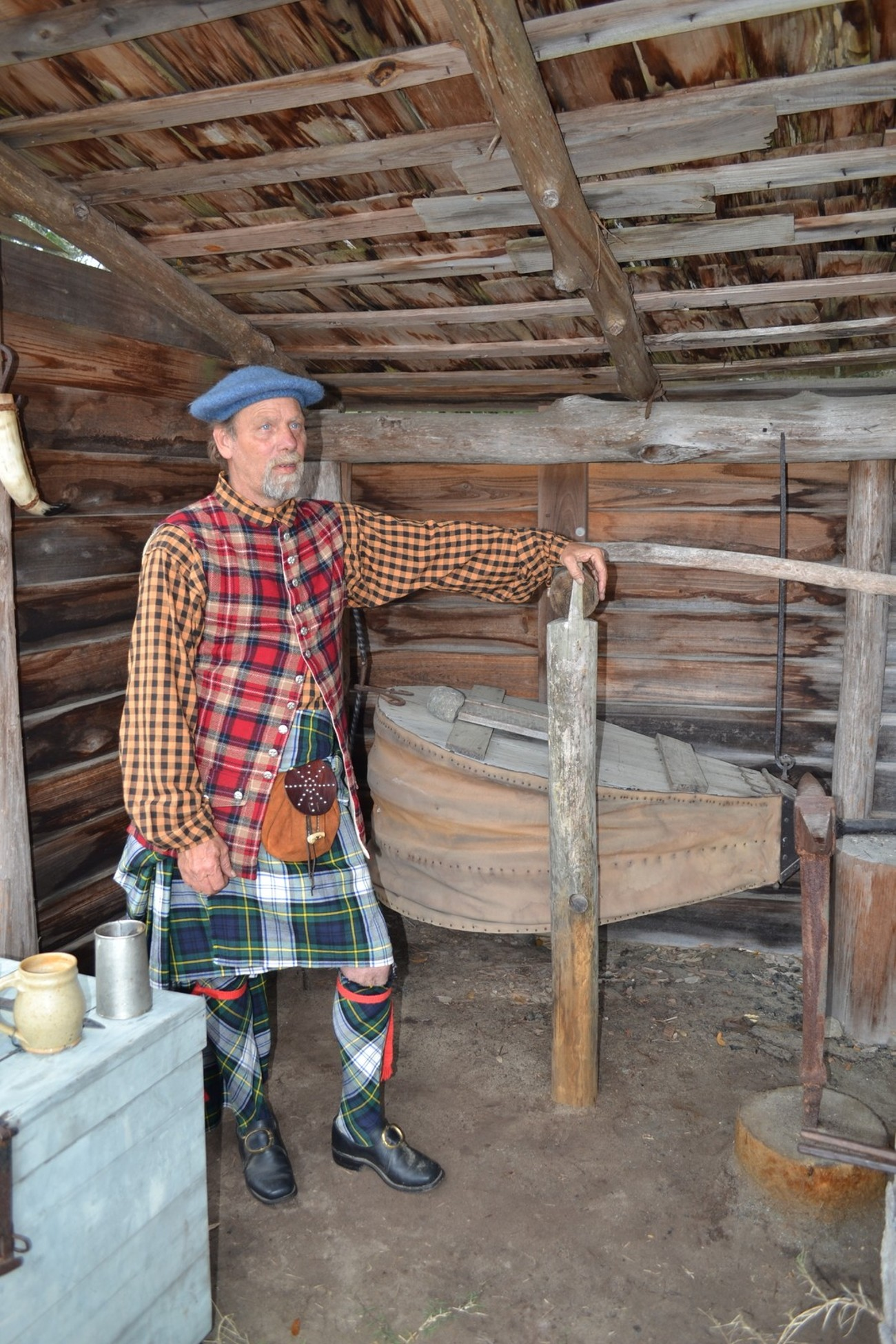 Spent the day at Fort St. George Darien GA.. Members of the Re-enactment society dress in the uniform of the Scottish Highlands of the times. This gentleman was standing in the blacksmith beside the bellows and describing what life was like then.
