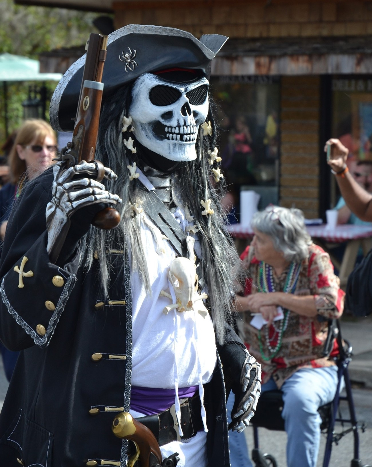 One of the actors who dress as pirates taking part in the St Marys GA. Mardi Gras Parade and festival  this past Saturday.