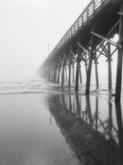 B & W foggy pier