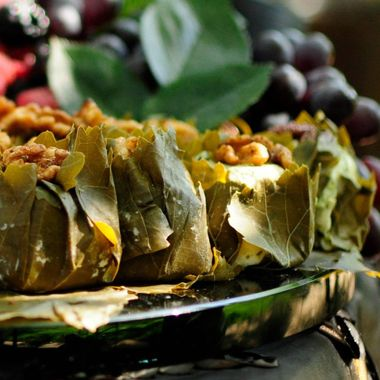 Goat Cheese in Grape Leaves with Fruit and Nuts