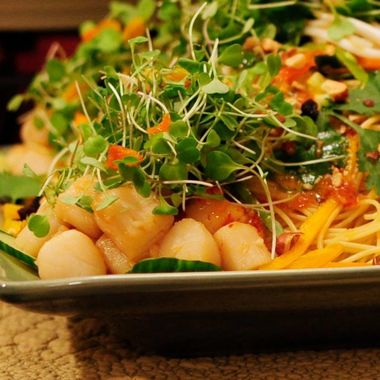 Pasta with Scallops and micro greens
