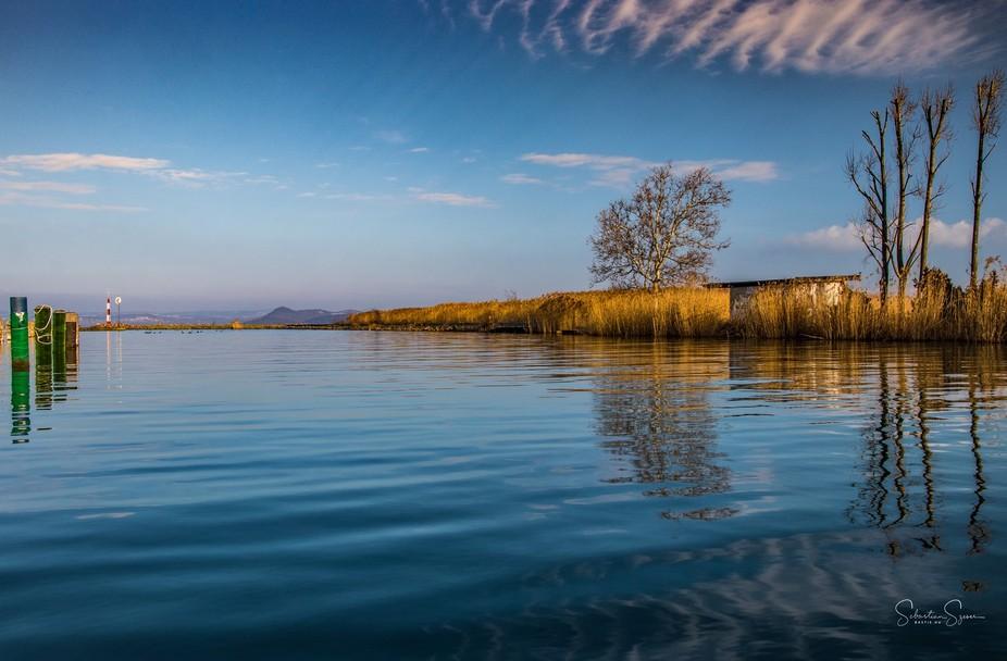 A very cold morning at the lake Balaton in Hungary