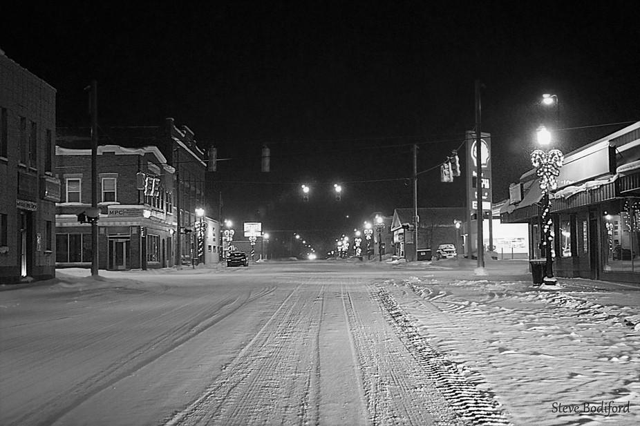 Snowy Night Small Town America