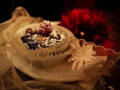 Gluten Free Chocolate Fudge Cupcake with Raspberry.