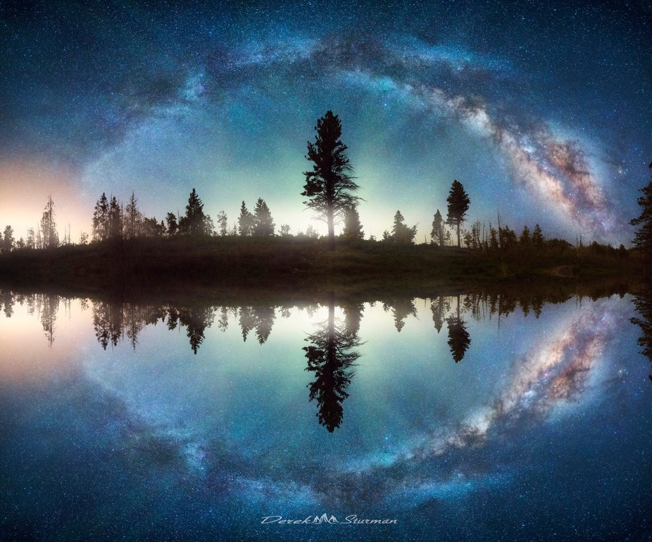 Mirrored Full Milkyway Panorama in the Uinta Mountains of northern Utah.
