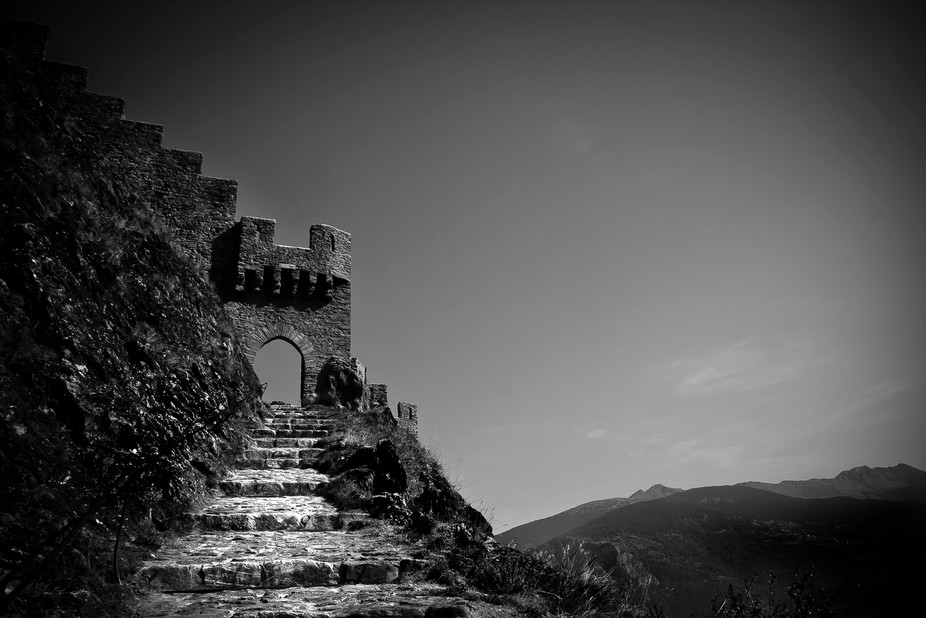 Steps unto the Tourbillon Castle, Sion, Switzerland