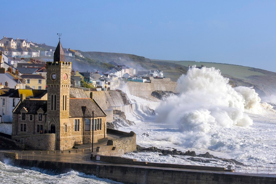 Two waves collide during Storm Ophelia at Porthleven in Cornwall creating this 80 foot explosion ...