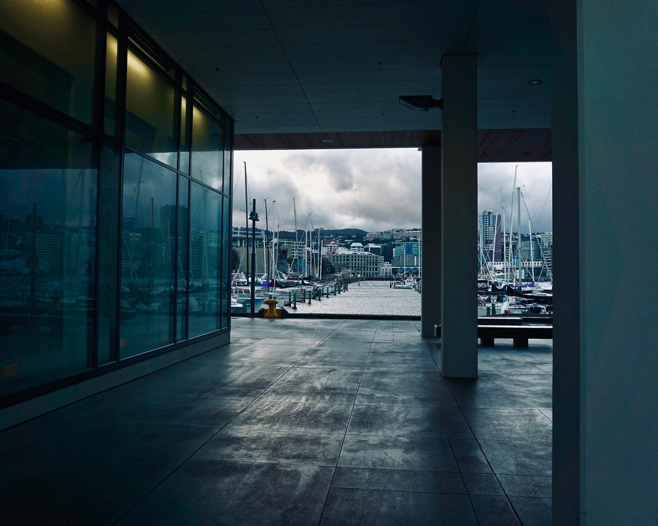 Looking through under the apartment building by Chaffers Marina, Wellington, NZ