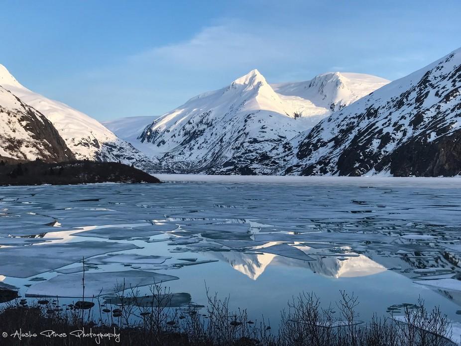 Breaking ice on Portage Lake