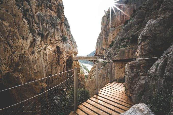 Caminito Del Rey, Bridge Sunflare by byrnephotography - Spectacular Cliffs Photo Contest