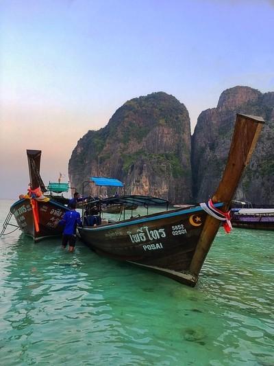 Early morning Boats at Maya Bay