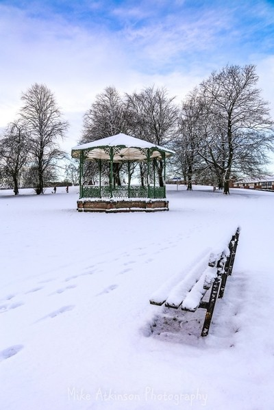 The Bandstand in the Snow (Portrait).