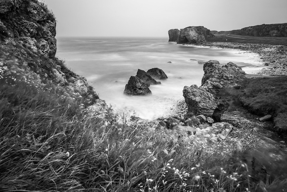Misty Four Sisters Cliff Top View (Mono).