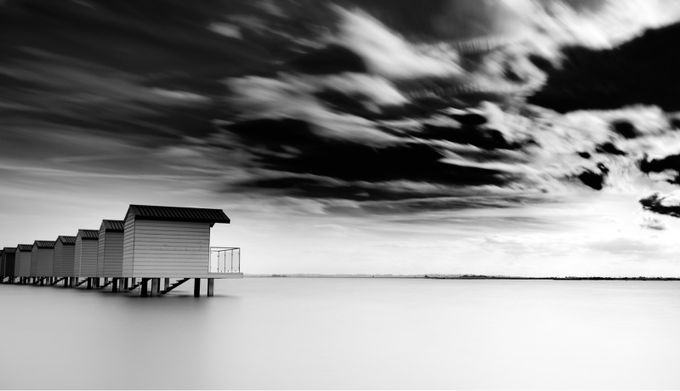 Heybridge Basin Beach Huts by markkench - Black And White Landscapes Photo Contest