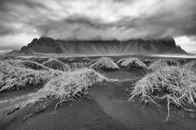 Dark Skies Over Vestrahorn by jonbarkeruk - Black And White Landscapes Photo Contest