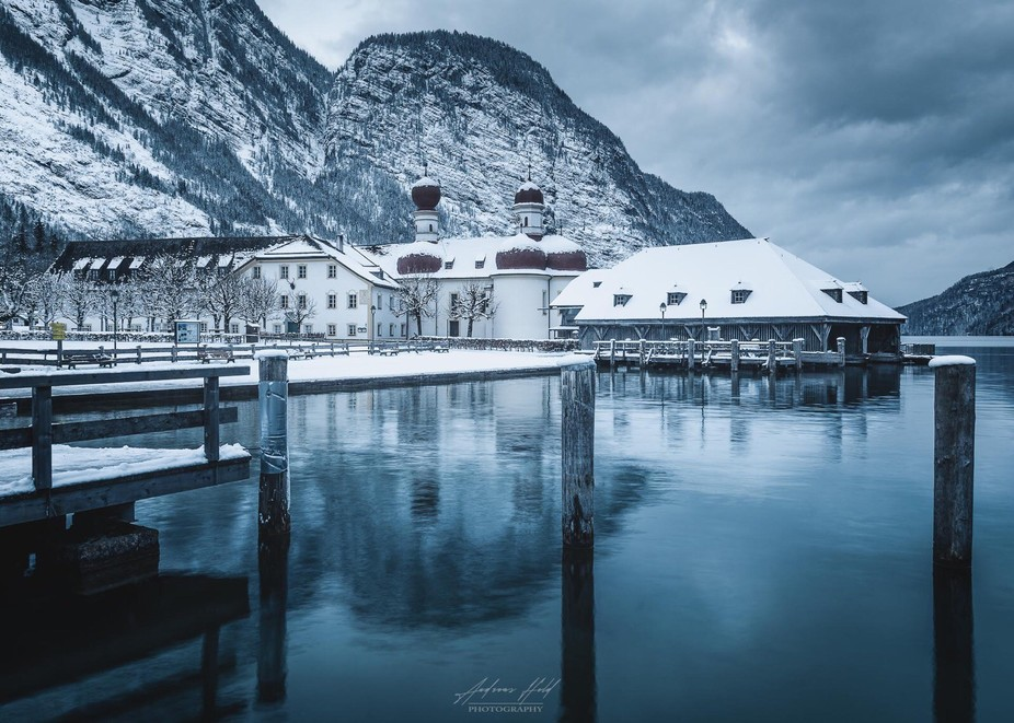 "The monastery ""St. Bartholomä"" at the lake ""Königssee"" in Bavaria/Germany. The monaster..."