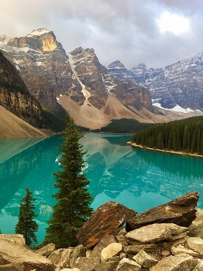Morning light on Moraine Lake in Banff National Park
