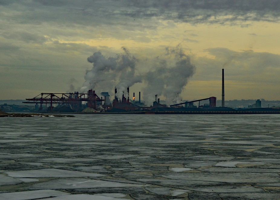 A steel mill outside Hamilton Ontario in the early morning light.