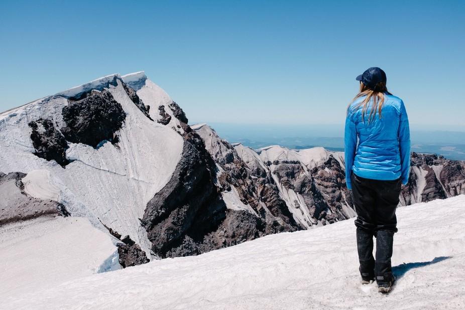 Mount Saint Helens Summit with climbing partner.